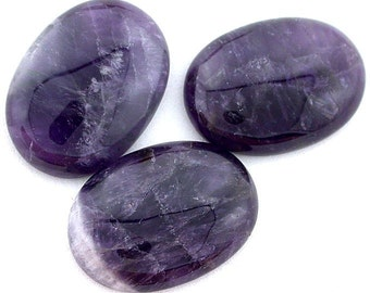 one 30x22 rich color amethyst oval cabochon gemstone