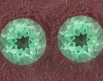 two 6mm round green quartz gem stone gemstone