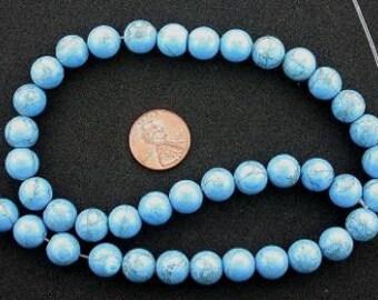 10mm dyed howlite turquoise gemstone round beads