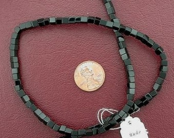 4mm cube gemstone black onyx beads