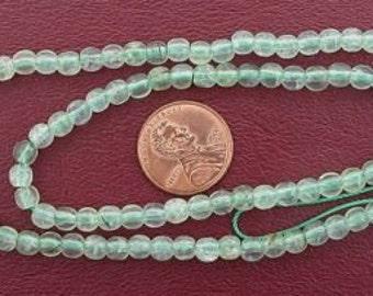 5mm round gemstone prehinite jade beads 15 inch strand
