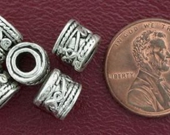 5 8mm ornate drum bali pewter beads