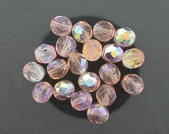 20 rosaline ab czech fire crystal faceted beads 6mm