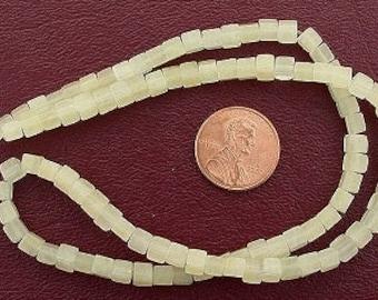 4mm cube gemstone light yellow jade beads