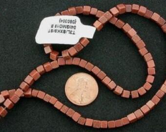 4mm cube  gemstone goldstone beads