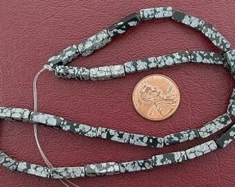 13x4 rectangle gems snowflake obsidian beads