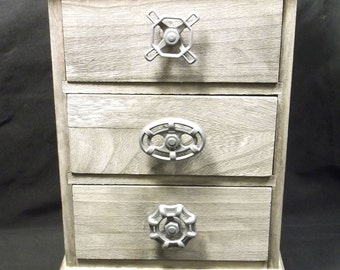 Gray distressed mini dresser / chest of drawers