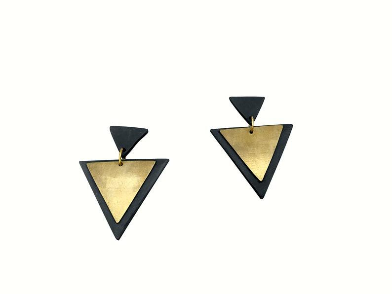 Caviar Deco Style Triangle Layered Earrings