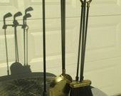 Vintage 4 Piece FIREPLACE Andirons with GOLF Club Iron HEADS Fore Fire Dogs Fire Pit
