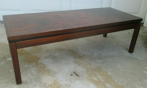 960s Walnut PARQUET COFFEE TABLE Floating Top Eames Retro Knoll Thayer