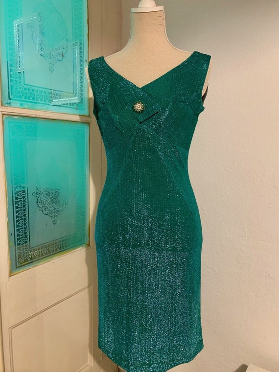 vtg 50s green lurex dress