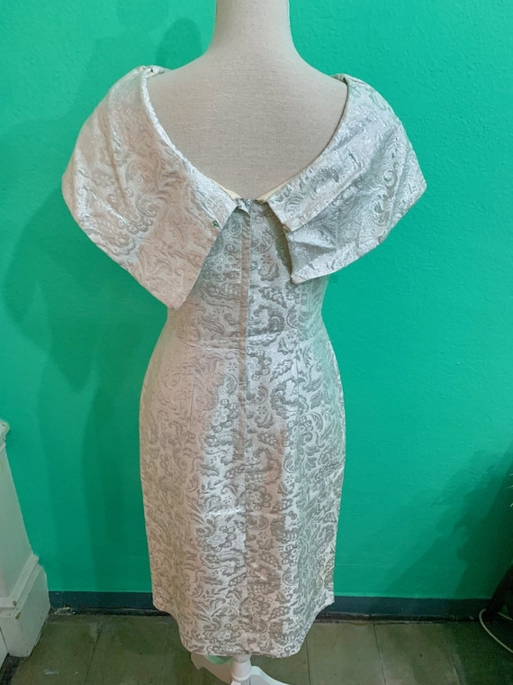 vtg 50s silver embroided lurex  lame dress - image 4