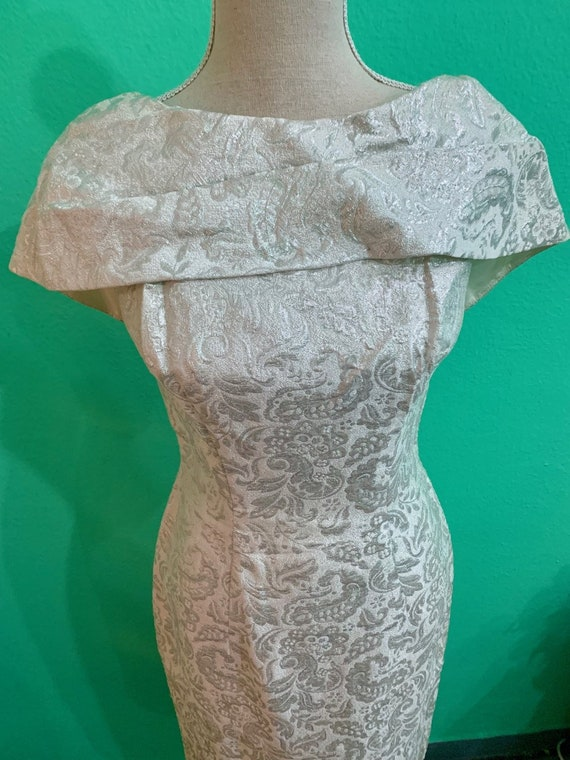 vtg 50s silver embroided lurex  lame dress - image 3