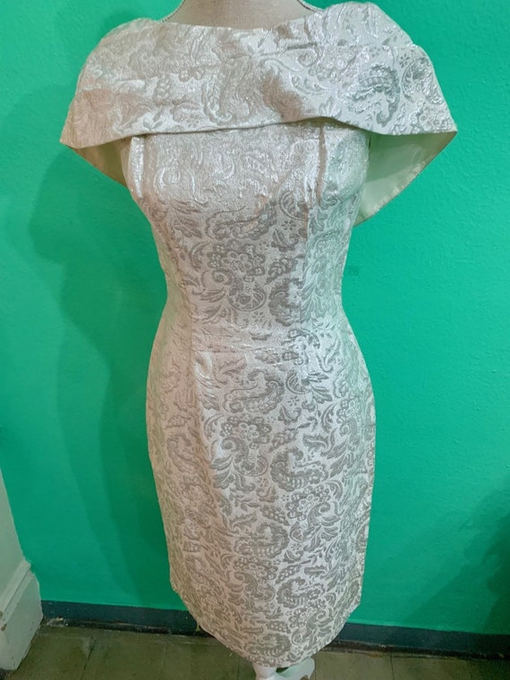 vtg 50s silver embroided lurex  lame dress - image 1