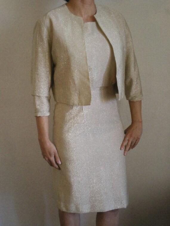 50's Gold/ White lurex dress with matching jacket