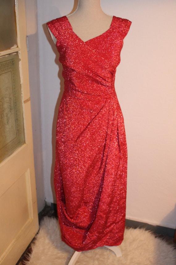 vintage 50's pink lurex gala dinner dress