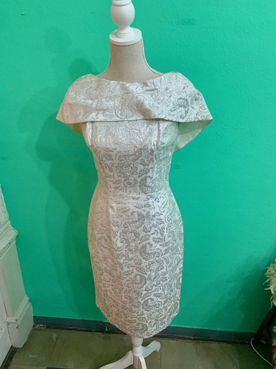 vtg 50s silver embroided lurex  lame dress - image 2