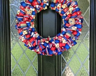 Red, White, & Blue Patriotic Ribbon Wreath