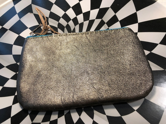 Gunmetal leather with glow in the dark Gir Invader Zim handsewn leather zipper pouch handmade Gir as a narwhal! Unicorn mermaid mashup