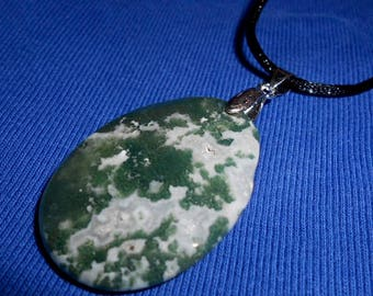 Faceted Green MOSS AGATE PENDANT on 28 Inch Black Satin Cord