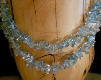BLUE TOPAZ NECKLACE*December Birthstone*17 1/2 Inches long