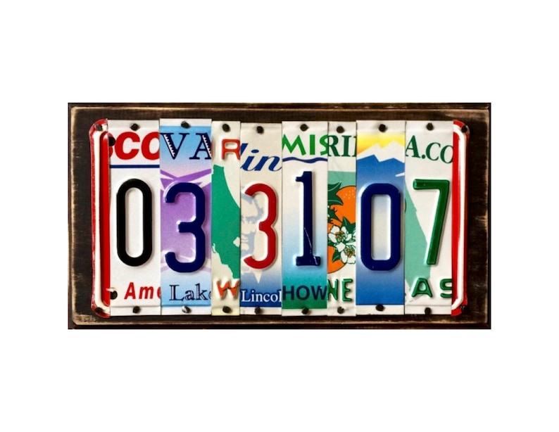 You can pick the states! 10th 15th 20th Year Anniversary License Plate Sign Wedding Gift of Tin Anniversary Date 10 Year Anniversary Gift