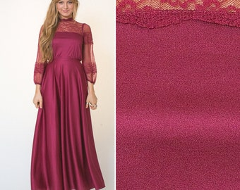 6d43e708ad3 Lace 70s Maroon Formal MAXI long sleeve EVENING Boho VICTORIAN lace dress