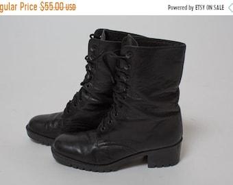 480c6f567dbf On sale 90s GRUNGE Black Size 6 Leather Kiltie VINTAGE 1990s Punk BOOTS