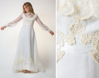 1c319cb3adc BOHO wedding dress vintage 60s 70s long sleeve gown white 60s 70s wedding  dress bridal SEVENTIES sheer lace 1970s boho LACE wedding dress