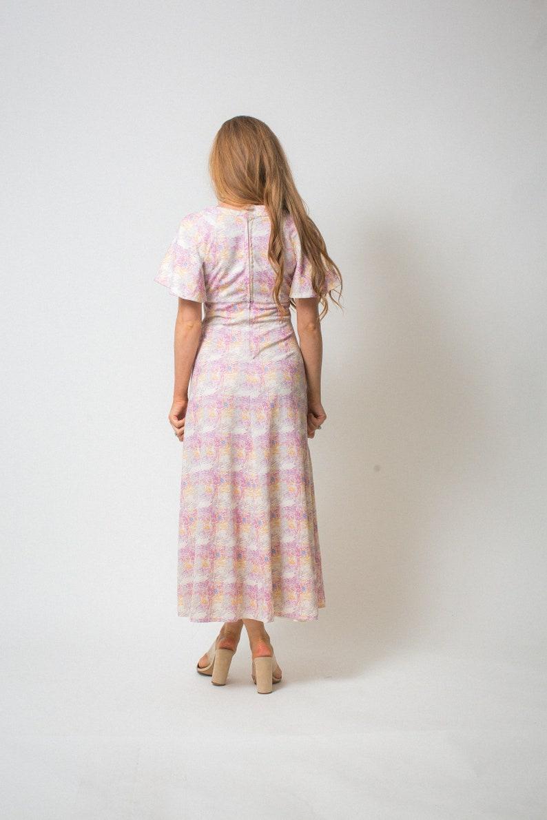 9474fb34b PINK BOHO dress printed 70s dress short BUTTERFLY sleeves | Etsy