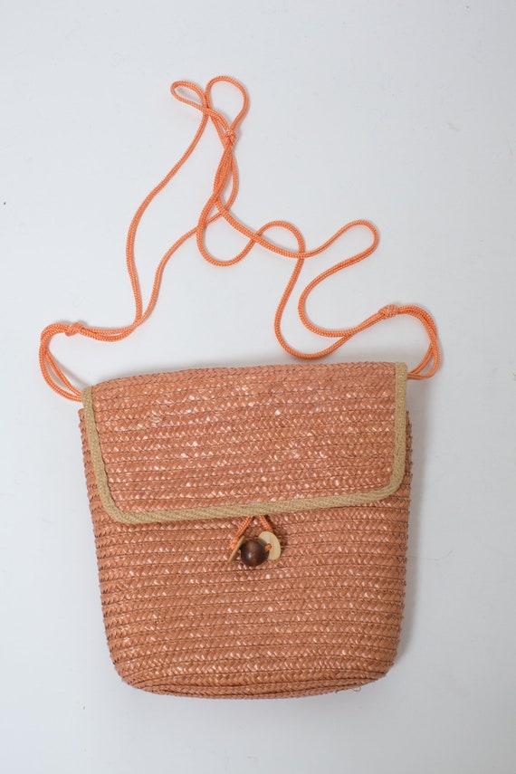 WICKER BAG Vintage Mid Century Handbag Woven Cross