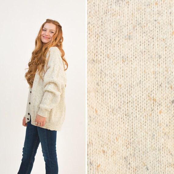 Chunky cardigan vintage WOOL cozy LARGE grandpa BAGGY knit  b2c33084a