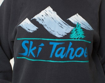 LAKE TAHOE sweatshirt- Vintage 80s sweatshirt crewneck BLACK rad 1980s mens womens ski sportswear graphic sweatshirt eighties fitted sweater