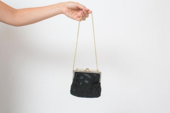 BEADED 50s 60s purse vintage WALBORG purse black b