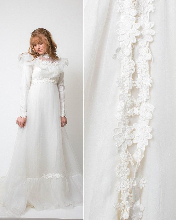 Boho Kleid Vintage 70er Jahre Hochzeitskleid Elfenbein Weiss Etsy