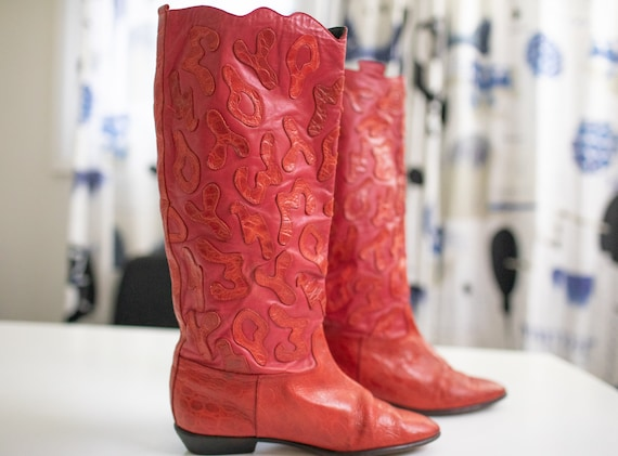 Vintage 80s RETRO boots Red LEATHER Beverly Feldm… - image 2