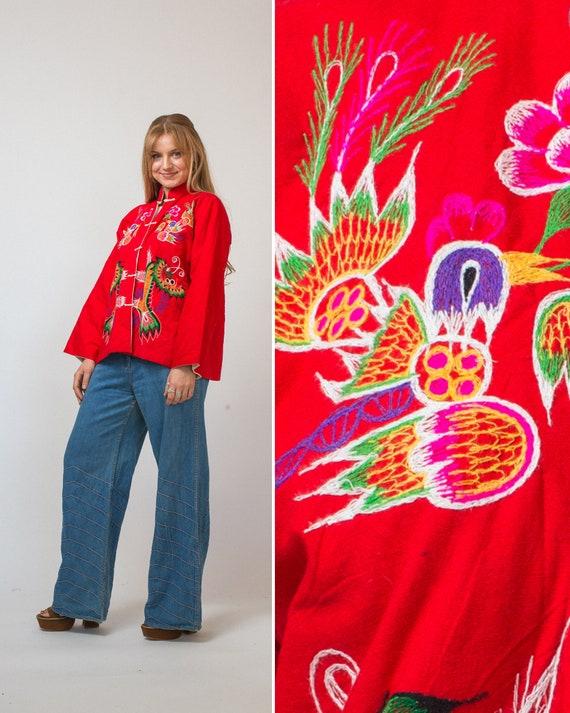 Vintage Chinese jacket green KIMONO Chinese robe J