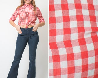 GINGHAM blouse vintage 70s RED checkered short sleeve button up 1970s gingham paper thin collared ROCKABILLY 4th of July shirt 3/4 sleeve