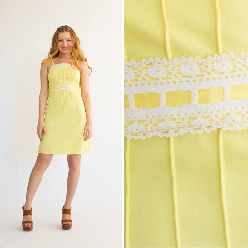 6350b75418d YELLOW mini dress vintage 70s BOHO small xs SEVENTIES tie