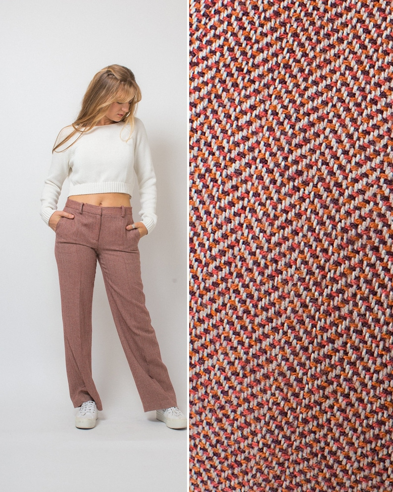 35ac8bb76af0e HERRINGBONE pants vintage 90s slacks maroon orange WIDE LEG pants 1990s  work pants size 4 women's pants holiday outfit trendy