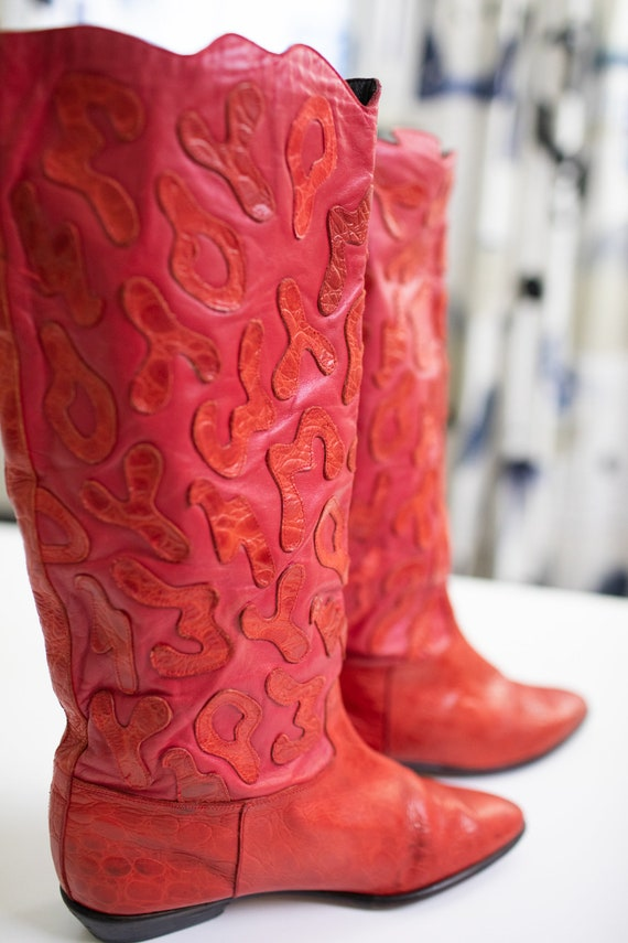 Vintage 80s RETRO boots Red LEATHER Beverly Feldm… - image 5