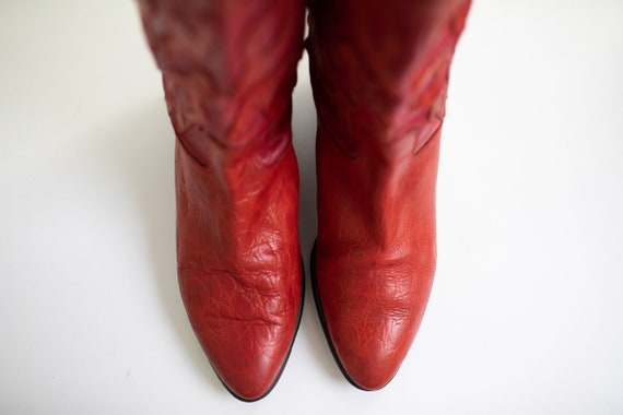 Vintage 80s RETRO boots Red LEATHER Beverly Feldm… - image 6