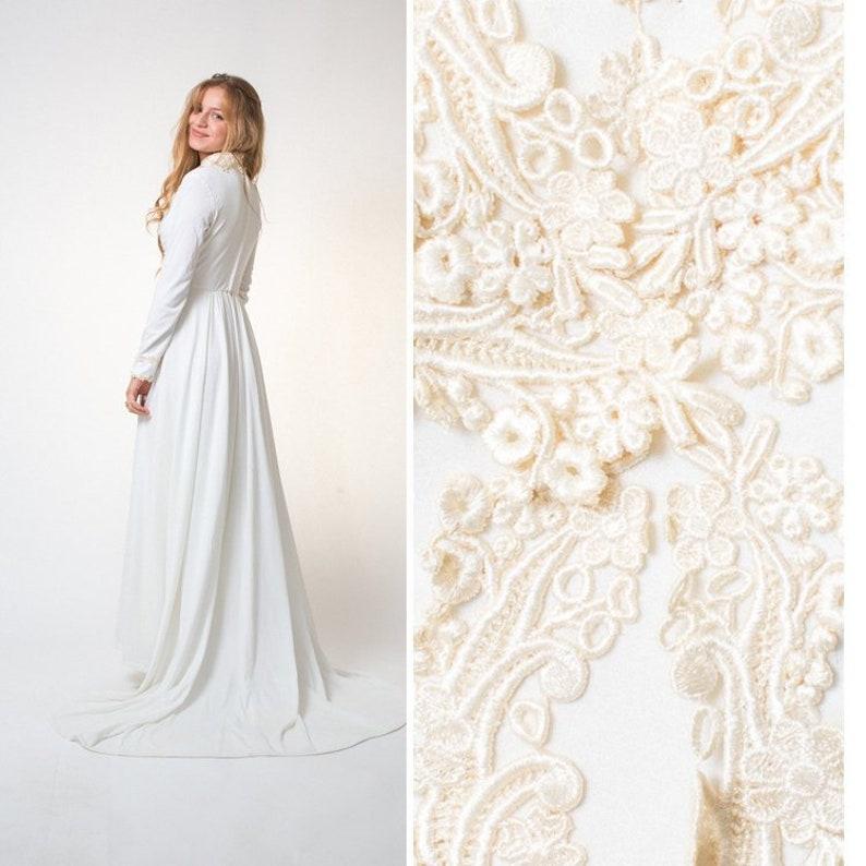 Vintage Wedding Dress Boho Wedding Dress Long Train White 70s Etsy