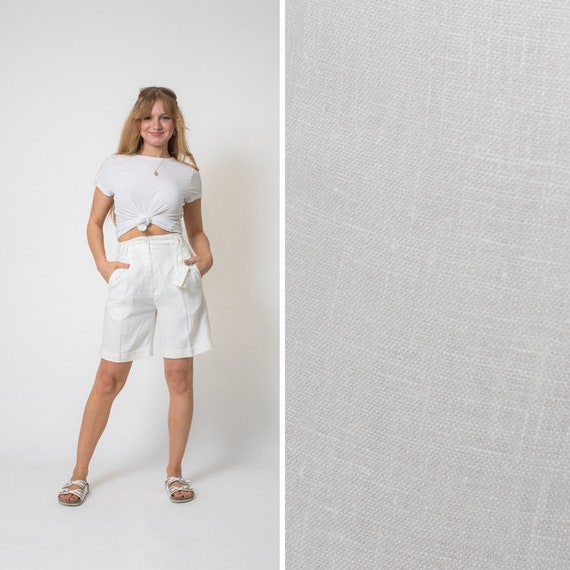 BERMUDA shorts vintage WHITE shorts LINEN shorts 8