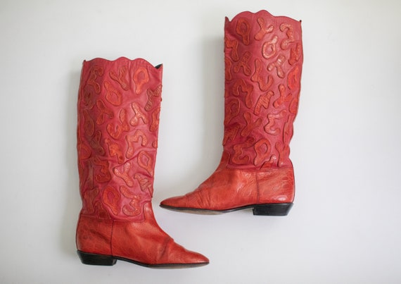 Vintage 80s RETRO boots Red LEATHER Beverly Feldm… - image 4