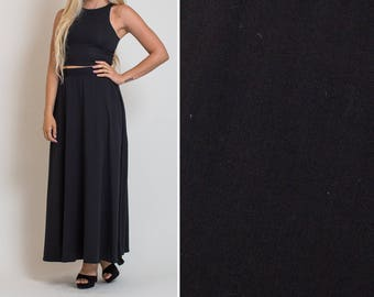 Long BLACK skirt vintage 90s MINIMAL skirt minimal style high waist MAXI skirt full skirt high waisted minimalist style