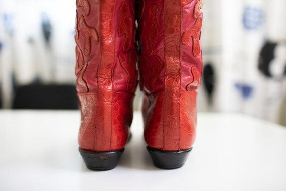 Vintage 80s RETRO boots Red LEATHER Beverly Feldm… - image 7