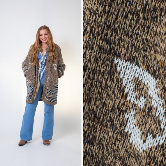 Oversized cardigan BROWN vintage chunky slouchy 80