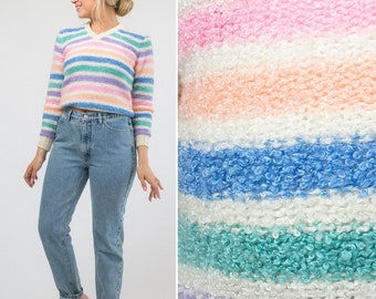 70s sweater vintage sweater RAINBOW sweater STRIPED sweater SEVENTIES sweater cozy sweater V-neck sweater hand loomed sweater 60s sweater