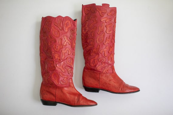 Vintage 80s RETRO boots Red LEATHER Beverly Feldm… - image 10